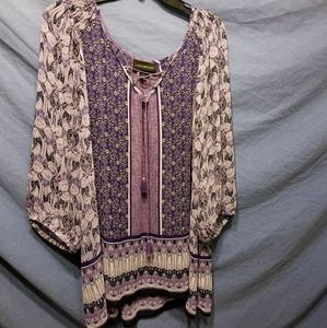 Purple peasant blouse with tassels